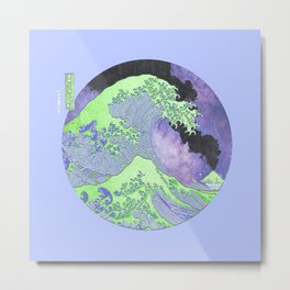 Great Wave Eruption and Starry Sky Metal Print