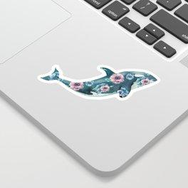 Whale Ocean Rose + Gold Polka Dot Sticker