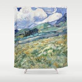 """Vincent van Gogh """"Mountainous Landscape behind Saint-Paul Hospital"""" Shower Curtain"""