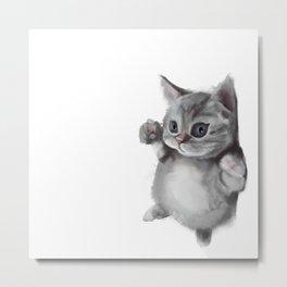 grey blue eyes cat Metal Print