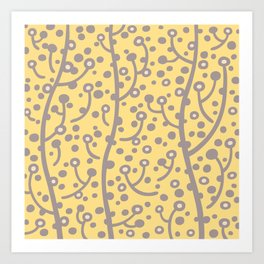 Mid Century Modern Spring Blossoms Gray and Yellow Art Print