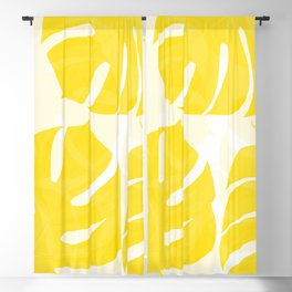 Mellow Yellow Monstera Leaves White Background #decor #society6 #buyart Blackout Curtain