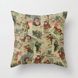Vintage Christmas Postcard Collage Print - Santa / Stamps / Pattern / Victorian Throw Pillow
