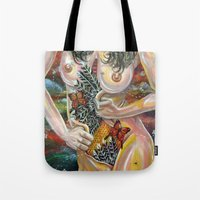 boob Tote Bags featuring alcove by Beth Jorgensen