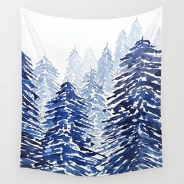 A snowy pine forest Wall Tapestry