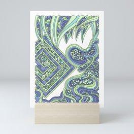 Wandering Abstract Line Art 47: Green Mini Art Print