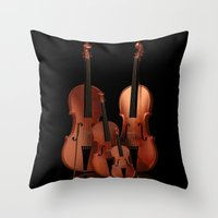 mortal instruments Throw Pillows featuring String Instruments by Simone Gatterwe