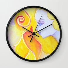 Lady Autumn Watercolor Art Nouveau Gold Wall Clock