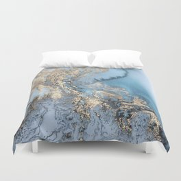 Gold and Blue Marble Duvet Cover