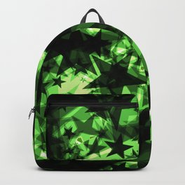 Metallic iridescent dark stars on a green background in the projection. Backpack