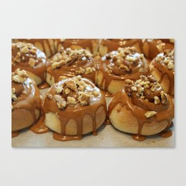 Homemade baking. Buns with caramel and walnuts. Canvas Print