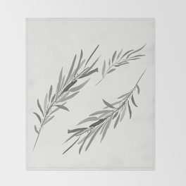 Eucalyptus leaves black and white Throw Blanket