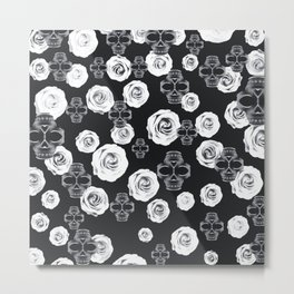 vintage skull and rose abstract pattern in black and white Metal Print