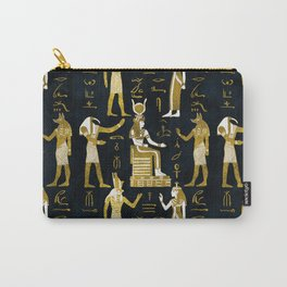 Egyptian Gods Gold and white on dark glass Carry-All Pouch