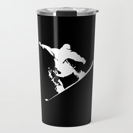 Snowboarding White Abstract Snow Boarder On Black Travel Mug