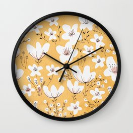 Yellow Meadow of Flowers Wall Clock