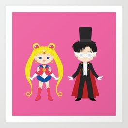 Sailor Moon and Tuxedo Mask Art Print