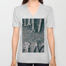 Dirty Monkey Spanner in Black and White Unisex V-Neck