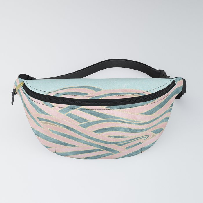 Venetian Waves // Vintage Abstract Pink Blue and Gold Summer Illustration Digital Beach Wall Decor Fanny Pack