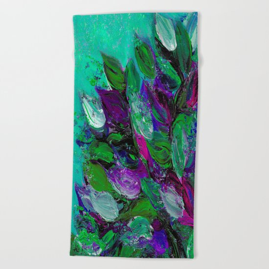 BLOOMING BEAUTIFUL 1 - Floral Painting Mint Green Seafoam Purple White Leaves Petals Summer Flowers Beach Towel