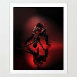 Two Jazz Dancers in Red Art Print