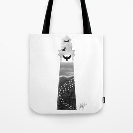 I Carried You Lighthouse Design Black and White Tote Bag