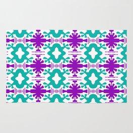 Kurt - Symmetrical Digital Art in Aqua, Purple and White Rug