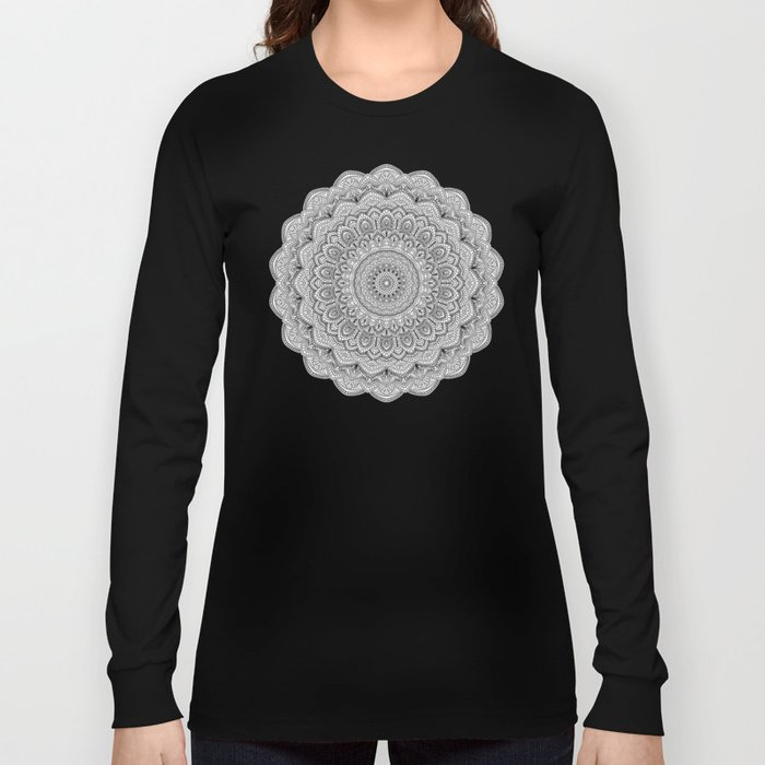 Black and white Lace mandala light Long Sleeve T-shirt