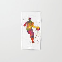 Basketball player 06 in watercolor Hand & Bath Towel