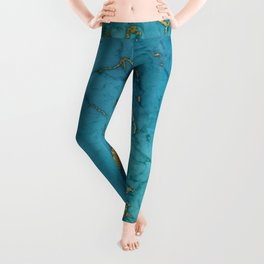 Blue and gold marble stone print Leggings