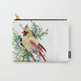 Cardinal Bird Artwork, female cardinal bird Carry-All Pouch