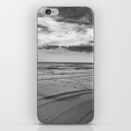 Driving on Assateague Island (Black and White) iPhone Skin