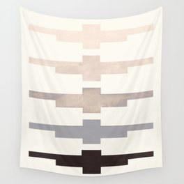 Mid Century Minimalist Ancient Aztec Inca Geometric Pattern Watercolor Grey Colorful Gouache Paintin Wall Tapestry