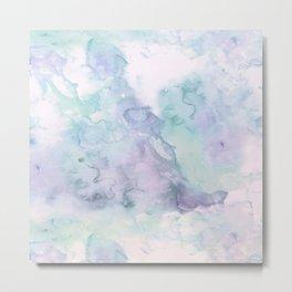 Pastel modern purple lavender hand painted watercolor wash Metal Print