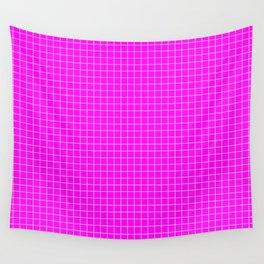 Pink Grid White LIne Wall Tapestry