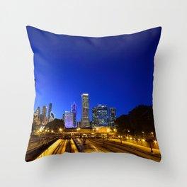 Silhouette Chicago skyline Throw Pillow