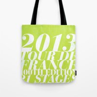 tour de france Tote Bags featuring 2013 Tour de France: Sprint!  by Dushan Milic