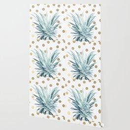 Pineapple crown - gold confetti Wallpaper