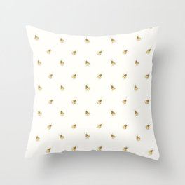 Gold Watercolour Bee Print Throw Pillow