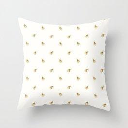 Gold Watercolour Bee Print Throw Pillow