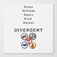 divergent Canvas Prints featuring DIVERGENT - ALL FACTIONS by MarcoMellark