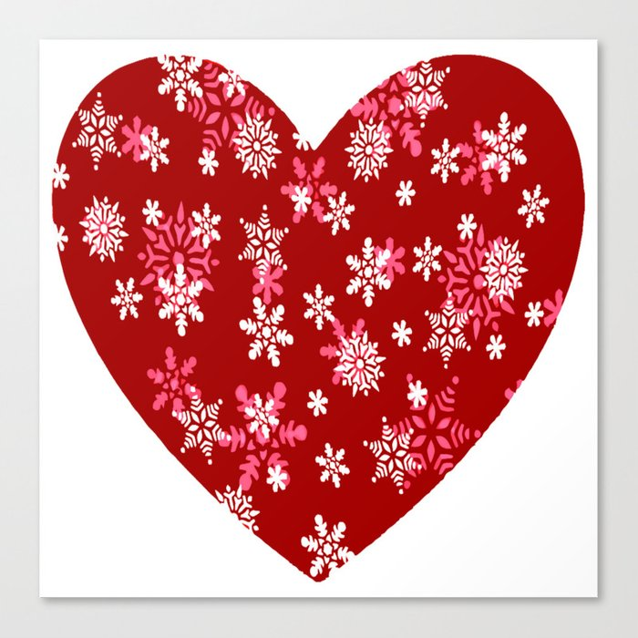 Red Heart Of Snowflakes Loving Winter and Snow Canvas Print