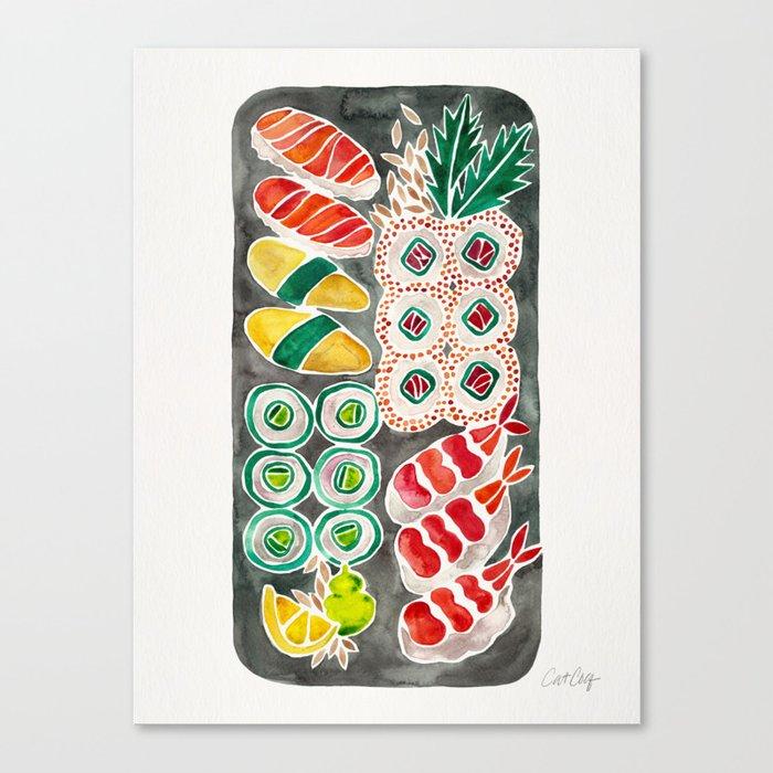 Sushi Collection – Black Platter Canvas Print