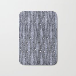 Metallic threads with beads on gray grungy background. Bath Mat