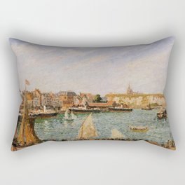 Afternoon Sun The Inner Harbor Dieppe 1902 By Camille Pissarro   Reproduction   Impressionism Painte Rectangular Pillow