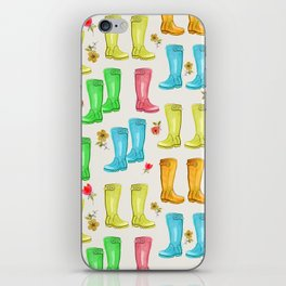 Wellies and Flowers Rainboot Print iPhone Skin