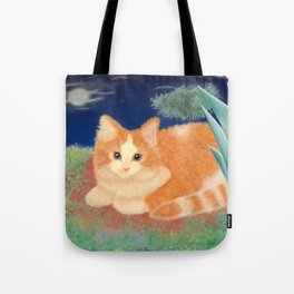Moonlight Orange Cat Tote Bag