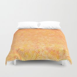 Ombre yellow and orange swirls doodles Duvet Cover