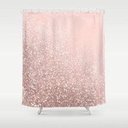 Rose Gold Sparkles on Pretty Blush Pink VI Shower Curtain
