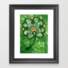 Victorian Shamrock with Orange Framed Art Print